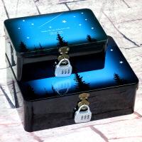带锁收纳盒星空密码铁盒子保险箱创意桌面整理储物箱化妆品珠宝首饰盒杂货日记铁皮盒 天蓝色 铁盒套餐流星