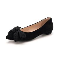 【领券减100】迪芙斯(D:FUSE)女鞋2019年春季专柜同款绒面羊皮革蝴蝶结低跟单鞋DF91111415