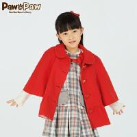 【2件2.5折 到手价:275】Pawinpaw宝英宝小熊童装春秋款女童气质毛呢外套