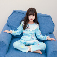 儿童睡衣套装女童棉睡裙长袖宝宝春秋季家居服女孩蕾丝新款童装