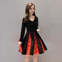 年早秋冬季新款女装韩版连衣裙V领长袖拼接蕾丝a字裙显瘦中裙