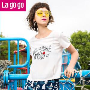 Lagogo2017夏季新款时尚百搭印花流苏短袖T恤女白色显瘦短上衣