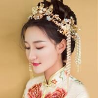 新娘结婚古装头饰中式婚礼金色发饰套装流苏步摇多款式秀禾服发饰