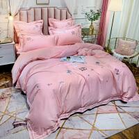 伊迪梦家纺 60支长绒棉全棉小清新卡通绣花四件套六件套床品套件床单款式床上用品1.5双人床LK108