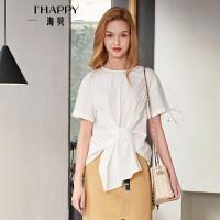 海贝2018夏季新款女装 圆领短袖后背单排扣腰间打结系带白色衬衫