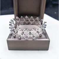 抖音同款伸缩戒指s925银变手镯两用一体手链女网红关节指环 银色 *盒