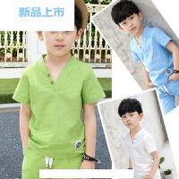 童装男童套装儿童棉麻夏装2018新款夏季中大童男孩两件套韩版短袖