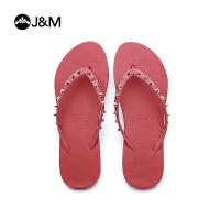 jm快乐玛丽夏季纯色铆钉人字拖舒适沙滩鞋夹趾女凉拖鞋