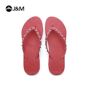 jm快乐玛丽2018夏季纯色铆钉人字拖舒适沙滩鞋夹趾女凉拖鞋T1035W