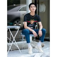印花款休闲时尚韩版T恤 男装动物款修身体恤圆领短袖夏