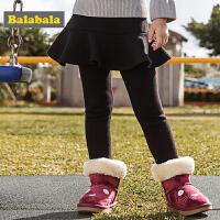 巴拉巴拉童装女童裤子儿童打底裤冬装2017新款小童宝宝加绒厚长裤