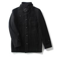 男装冬装新 简约风纯色单排扣外套长袖毛呢大衣男百搭