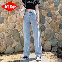 Lee Cooper阔腿裤牛仔女高腰薄款舒适显瘦裤子泫雅直筒宽松牛仔裤女