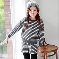 新品女童运动套装韩版童装秋冬加绒加厚T恤+假两件长裤2件套
