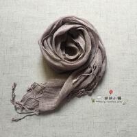 日系日式良品森林系纯色天然亚麻全麻雨露麻男女通用围巾披肩丝巾