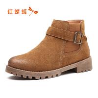 红蜻蜓女鞋新款真皮短靴圆头高帮鞋加绒马丁靴裸靴保暖棉鞋