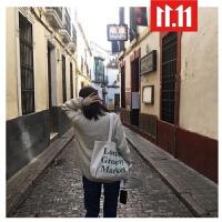 文艺帆布包学生单肩包手提包chic帆布袋韩国ulzzang潮女包 白色 墨绿字母