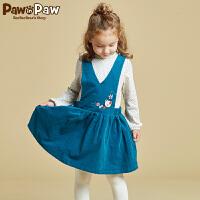 【3件2折 到手价:120】Pawinpaw宝英宝卡通小熊童装冬季款女童荷叶边连衣裙V领背心裙