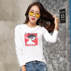 秋季新款时尚女装上衣体恤衫显瘦打底衫白色修身t恤长袖女潮