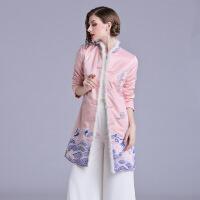 复古棉衣女装中国风棉袄女秋冬中式刺绣唐装外套旗袍冬款加厚