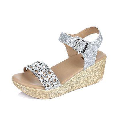 Tata/他她2017夏季亮片布水钻镂空坡跟女凉鞋2NTC2BL7