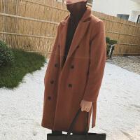 新款2018秋冬中�隹蠲�呢大衣外套男士�n版款式休�e�p排扣呢子�L衣