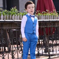2019 儿童礼服马甲套装男童小西装主持人男孩钢琴演出表演服 蓝色