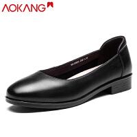 奥康女单鞋浅口牛皮百搭套脚休闲舒适通勤皮鞋女单鞋