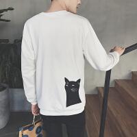 秋装新品卫衣男 鱼骨头印花套头卫衣男潮长袖背后猫咪图案打底衫