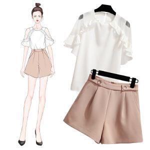安妮纯洋气短裤套装 夏季短袖衬衫女时髦女神小心机学生网红矮个子漏肩两件套装