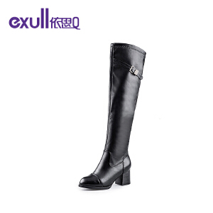 Exull依思Q皮带扣长靴粗跟高跟圆头女靴