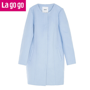 Lagogo拉谷谷2016冬季新款纯色毛呢大衣女中长款时尚口袋呢子外套