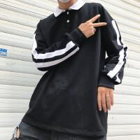 韩国INS同款复古双杠粗条纹polo长袖T恤 18ss男女款
