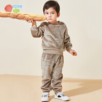 贝贝怡婴儿衣服秋冬新款男女宝宝保暖家居服套装儿童睡衣2件套193T528