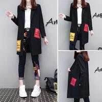 秋季女韩版宽松显瘦百搭女士风衣中长款西装领外套潮 黑色