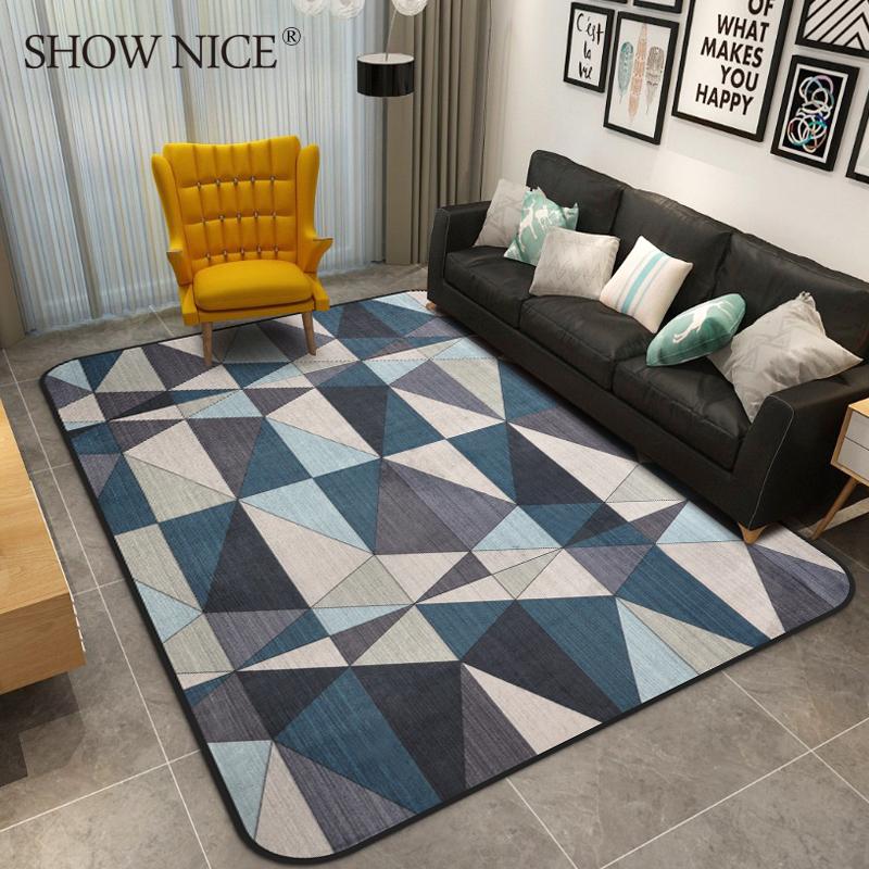 几何图案北欧地毯客厅现代简约欧式茶几卧室床边毯