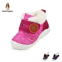 暇步士Hush Puppies童鞋18冬季新款加绒保暖宝宝鞋时尚防滑圆头学步鞋萌趣可爱幼童鞋(0-4岁可选) DP9362