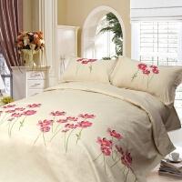 刺绣全棉斜纹三件套四件套双人被套床单枕套床上用品