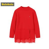 巴拉巴拉女童毛衣套头童装中大童儿童毛衫秋冬2017新款韩版针织衫