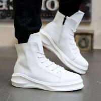 米乐猴 潮牌潮流高帮鞋厚底增高运动休闲鞋子白色街舞板鞋潮鞋英伦高邦男鞋