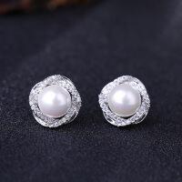珍珠耳钉 925纯银镶钻耳环女日韩国时尚气质简约个性防耳饰品