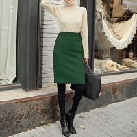 墨绿色羊绒半身裙女秋冬高腰包臀裙冬季加厚羊毛裙半裙裙 墨绿色