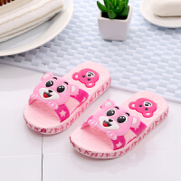 儿童拖鞋夏男女童浴室洗澡防滑小孩宝宝凉拖鞋软底室内卡通可爱 粉红色 小熊
