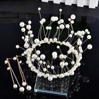 仿珍珠饰品婚纱礼服配饰圆形皇冠耳环两件套结婚头饰