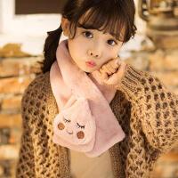 韩国秋冬季儿童保暖围脖卡通可爱公主宝宝毛毛绒交叉领巾冬天女童