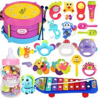 婴儿玩具 0-1岁婴幼儿牙胶摇铃0-3-6-12个月新生儿宝宝手摇铃 【奶瓶款带咬胶】 摇铃+拍拍鼓25件套+滑板敲琴