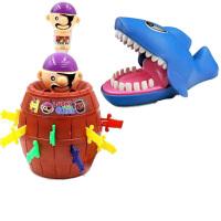 创意整蛊玩具 恶搞礼物 海盗桶咬手指子鲨鱼鳄鱼恶犬拯救企鹅 海盗桶+鲨鱼 拍即送 EVA 竹蜻蜓