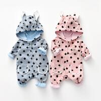 【专区1件3折:68元】2020春装新款女宝宝灯芯绒连体衣圆点印花兔子造型棉双层外出爬服