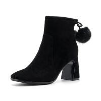 D:Fuse/迪芙斯冬季方头粗跟侧拉链高跟时装短靴DF84116017