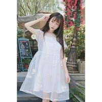 吊带连衣裙夏季2018新款女装宽松甜美刺绣圆领网纱蕾丝裙子两件套 白色 均码